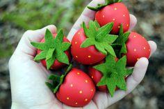 Wooden Play Food: 7 Strawberries - $14