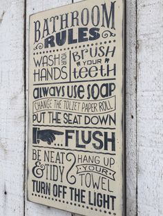 Bathroom Rules   Distressed Rustic Hand Painted Wood Sign, Childrenu0027s Bathroom  Wall Decor, Typography Subway Style Wall Art, Farmhouse Style