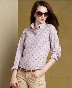Tommy Hilfiger Shirt, Long-Sleeve Printed Button-Down - Womens Tommy Hilfiger - Macy's   Love the anchors!!