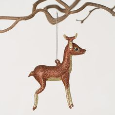 This sprightly deer, hand-painted with bright brown and gold glitter, is ready to bound through winter woodlands on its delicate legs. Holiday Tree, Holiday Fun, Christmas Holidays, Happy Holidays, Deer Ornament, Woodland Christmas, Festivus, Vintage Christmas Ornaments, Merry Xmas