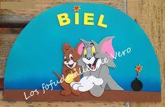 Cartel con nombre en goma eva Tom y Jerry