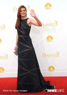 Actress Debra Messing arrives for the 66th Annual Primetime Emmy Awards  held at Nokia Theatre L.A. Live on August 25, 2014 in Los Angeles, California.  (Photo by Albert L. Ortega/Getty Images)  --  Access, discover and share millions of images at *newzcard.com.
