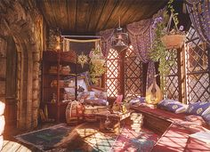 Sera's Room in Skyhold (Dragon Age) Fantasy Rooms, Fantasy Places, Fantasy World, Fantasy Setting, Environment Concept Art, Fantasy Landscape, Anime Scenery, Dream Rooms, Dragon Age