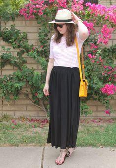 Striped shirt, Black maxi skirt, yellow bag, panama hat