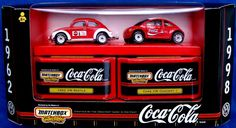 1998 Target Store exclusive Matchbox Coca-Cola/Coke VW Bug. 1:64 scale Volkswagen cars: a 1962 VW Beetle, and the VW Concept 1, decorated with Coca-Cola logos.