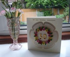 Quilled Anniversary Card - ANY number