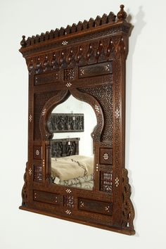 Large Middle Eastern Syrian Mirror Inlaid with Mother of Pearl | From a unique collection of antique and modern wall mirrors at https://www.1stdibs.com/furniture/mirrors/wall-mirrors/
