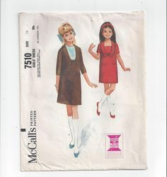 McCall's 7510 Pattern for Girls' Dress, Slim with 3 Panels, Snap In Dickey, From 1964, Girls' Size 10, Vintage Pattern, Sweet Vintage Dress by VictorianWardrobe on Etsy