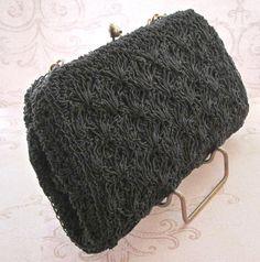 Vintage Black Bead Bag, Seed Bead Bag, Micro Bead Bag, vintage clutch, 1950s Purse, 1950s Bag, evening bag, chain handle, black bag, vintage