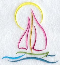 Sailboat tattoo photo that's been saved on my computer for a long time. This is what I think I would get in all black Medford Marie life Sailboat Art, Sailboats, Sailboat Tattoos, Sailboat Drawing, Hand Embroidery Patterns, Machine Embroidery Designs, Tatoo Dog, Embroidered Towels, Satin Stitch