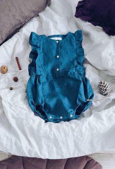 Handmade Button Front Linen Baby Romper   LaPetitePersonneShop on Etsy