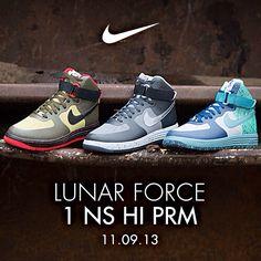 Available 11.9.13- Lunar Force 1 NS HI Prm -  at jimmyjazz.com #jimmyjazz #trendingnow #Nike #lunarforce1 #LF1 #premium #AF1 #AirForce1 #lunar #IGSneakerCommunity #sneakers