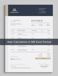 """This premium invoice template belongs """"Excel"""" Word, AI, EPS, PSD, PDF versions. Invoice Design Template, Quote Template, Letterhead Design, Letterhead Template, Brochure Template, Templates, Receipt Template, Invoice Format In Excel, Invoice Layout"""