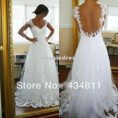Wholesale Dress to - Buy Actual Image !!Customized A Line Sweetheart Sexy Open Back Sheer Weddind Dresses 2014 Sleeveless Applique Lace Wedding Dresses, $120.0   DHgate