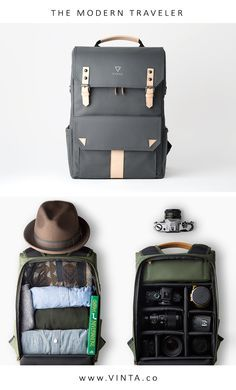 """Forest   Tan Leather (EST.Shipping Fall 2016)  Introducing VINTA's first backpack the S   Series is a necessity for every  traveler & photographer. The compact and clean design can accommodate for a  wide range of uses. Whether you are climbing up a mountain or exploring a  new city.      * Slot for up to a 15"""" laptop (from the top); 13"""" (from the back)     * Removable inserts for the photographer or the traveler     * Fit full-frame DSLR camera, along with 3-5 lenses     * FIELD PACK…"""