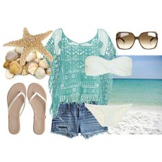 """Soak up the Sun"" by qtpiekelso on Polyvore - my fav is the litle blue coverup"