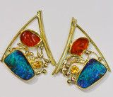 Boulder Opal and Mexican Opal Earrings