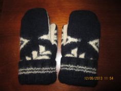 Navy Blue and Cream Tan Felted Wool Mittens made by MittenMomma, $20.00