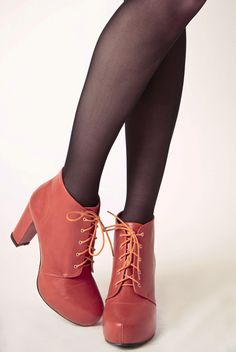 Platform Lace Bootie in Tangerine from Kling