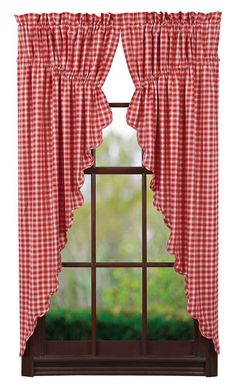 Stratton Burlap Applique Star Tier Curtains 24