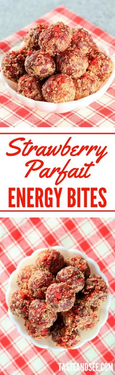 Strawberry Parfait Energy Bites Recipe: No-bake gluten-free treats with oats, almonds, dates, maple syrup, vanilla extract and freeze-dried strawberries. Healthy Sweets, Healthy Snacks, Healthy Recipes, Healthy Eating, Clean Eating, Energy Snacks, Energy Bites, Protein Bites, Yummy Snacks