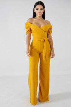 Style Description This jumpsuit features a stretch fabric, mock v neckline, off the shoulders, knot detail, and wide leg. Model is wearing a small Polyester Spandex Hand wash cold water Do not bleach MODEL STATS Height: / / Yellow Jumpsuit, Casual Jumpsuit, Jumpsuit Dress, Yellow Dress, Jumpsuit Style, Trendy Outfits, Cute Outfits, Fashion Outfits, Womens Fashion