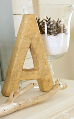 January Blue Winter Mantel wooden monogram at The Happy Housie