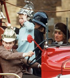New Year at Sandringham, 1988 Today's Memories Of Diana is from January 3rd 1988, when Princess Diana, Prince Charles and Princes William and Harry, were seen starting the New Year with a photo-call at Sandringham.   William and Harry and their cousins Peter and Zara Philips had great fun climbing aboard an old estate fire engine, that was used on the Sandringham Estate.
