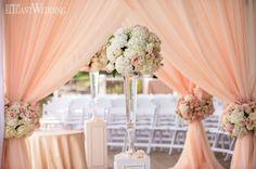 Peach and Pink Hindu Wedding Chuppah www.elegantwedding.ca