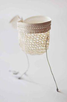 Stilt Cup by Katherine Wheeler Textile Sculpture, Textile Fiber Art, Sculpture Art, Ceramic Jewelry, Ceramic Clay, Fabric Jewelry, Jewelry Art, Jewellery, Textiles