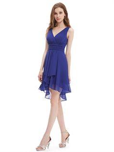 V Neck Straps Empire Waist Blue Chiffon Charming Short Prom Dress