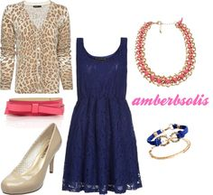 Fashion, Floss and Lip Gloss Blog: How to Style a Dress + Cardigan + Belt for Fall outfit inspiration, outfit idea, polyvore, nude heels, leopard print, blue, pink, jewelry, lace, bow Leopard Cardigan, Dress With Cardigan, Fashion Styles, Fashion Dresses, Stitch Fix Outfits, Pink Jewelry, Nude Heels, Lip Gloss, Design Trends