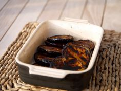 Dish of beautifully bbq'ed aubergine |  https://butterwouldntmelt.com/2016/06/10/simple-but-delicious-bbq-aubergine/