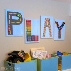 PLAY art is easy to make using toys and craft supplies from a dollar store!...