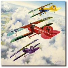 "Rittmeister Manfred von Richthofen leads his famed ""Flying Circus"" into battle in his red Albatros D.III during April of 1917."