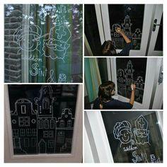 Mooi ontwerp als tekening op de deur/het bord