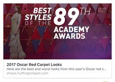 ‪2017 Oscar Red Carpet Looks  Check out this great video I am watching over at http://shows.huffingtonpost.com/video/58b3b2394d96932fb551d6ba‬