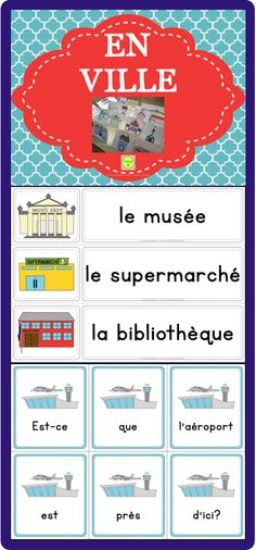 En Ville - a pack of French resources to help you teach vocabulary related to places in the city, asking for and giving directions, etc. It includes word wall cards, sentence builders and more! French Education, Education And Literacy, French Teaching Resources, Teaching French, How To Speak French, Learn French, Ontario Curriculum, French Grammar, Core French