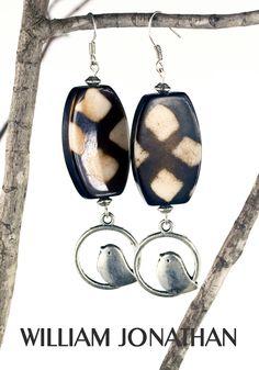 Tribal wood charm earrings Parakeet dangling wood earrings Charm jewelry Tribal jewelry Statement jewelry Statement earrings Gift ideas by William Jonathan