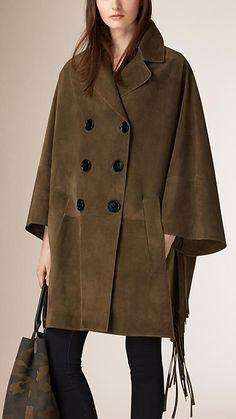 올리브 그린 프린지 스웨이드 판초 코트 - 사진 1