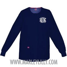 Monogrammed Dickies Navy Round Scrub Neck Jacket