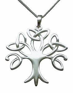 """Sterling Silver Celtic Trinity Tree of Life Necklace (Crann Bethadh) Woman's Size On 16"""" to 18"""" (40.5 to 45.7cm) High Quality Italian Extending Box Chain"""