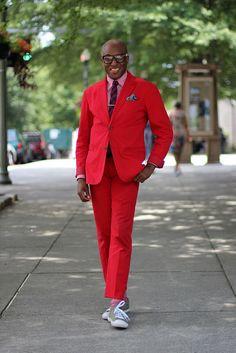 Nice red suit #atlanta #style