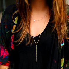 "diy delicate gold ""Y"" chain necklace"