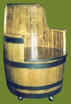 Drinking your whisky is a whiskey barrel chair. Priceless.