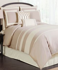 This sophisticated set brings a sense of classic style to bedroom décor. With pin tuck details and fine embroidery, this comforter is sure to create a cozy atmosphere ready for rest and relaxation. Includes comforter, bed skirt, two Euro shams, two shams and two throw pillowsAvailable in three sizes100% polyester