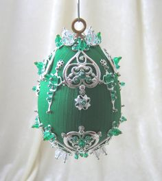 E123 Silver Emerald Satin Ornament by WhiteHawkOriginals on Etsy, $20.00