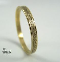 Vintage Thin Wedding Band in 14k Yellow Gold , Art Deco wedding ring band,  gold ring for men and women, solid gold band, thin gold band. $249.00, via Etsy.