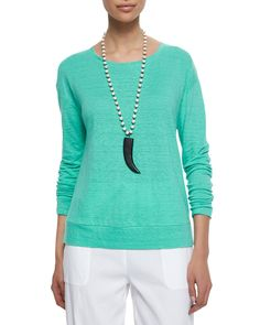 Linen Jersey Box Top, Deep Citrine - Eileen Fisher