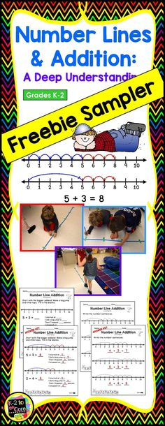 Number lines provide a visual which helps deepen a student's understanding of addition and subtraction. In this FREEBIE SAMPLER, you'll see samples of practice pages asking students to solve addition problems by showing hops on number lines. First, students will count up each number. Next, they will use the counting-on strategy, beginning with the larger number, Last, they will look at number lines with hops drawn in and determine the number sentences they illustrate.